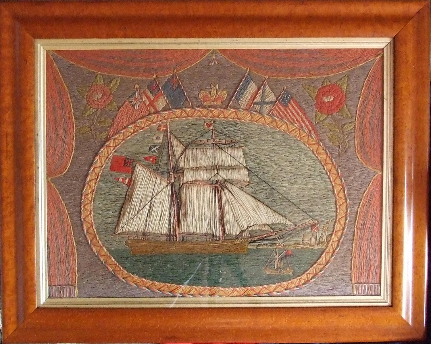 Charming woolwork ship portrait