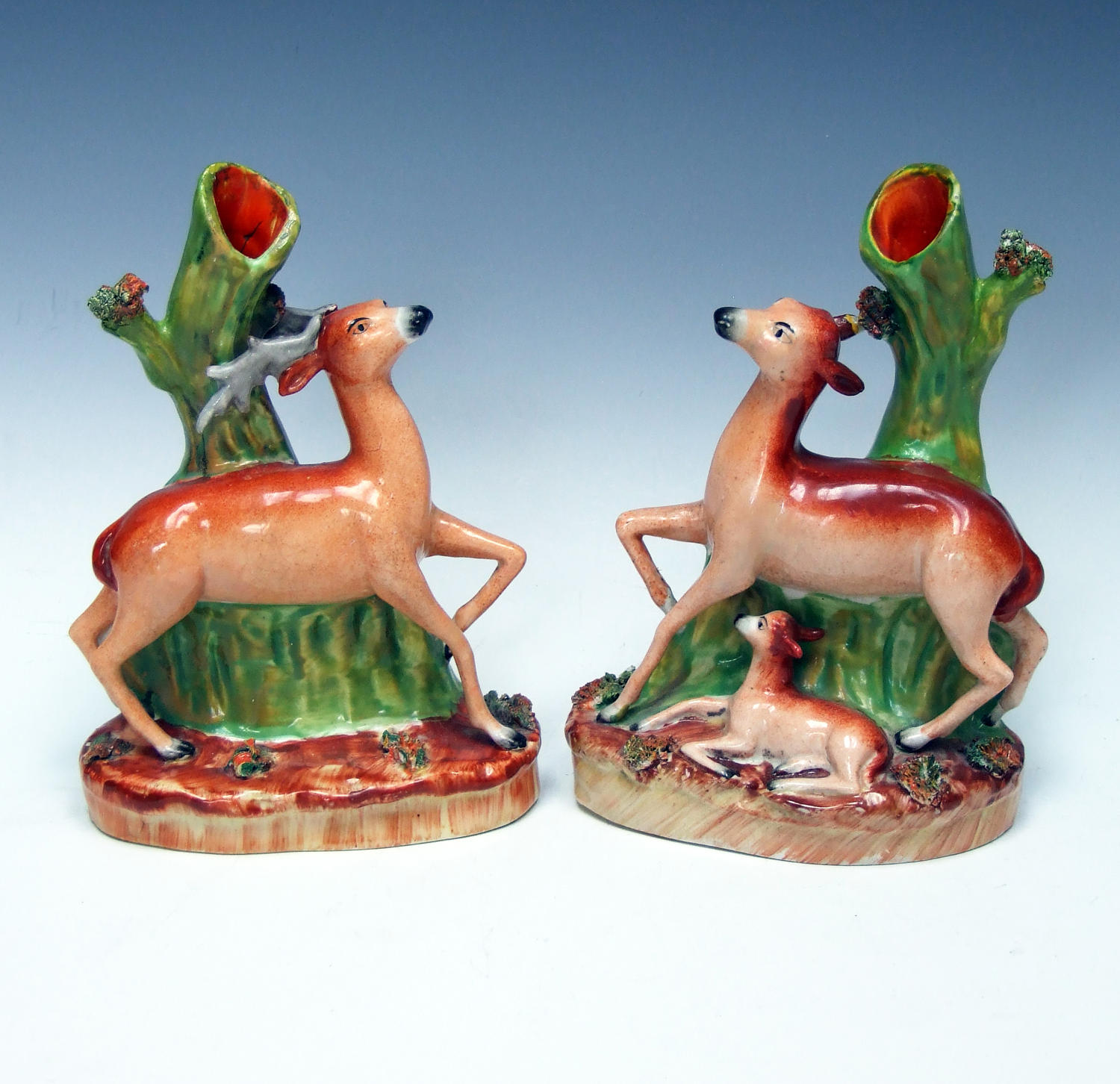 Unusual pair of Staffordshire deer and faun spills