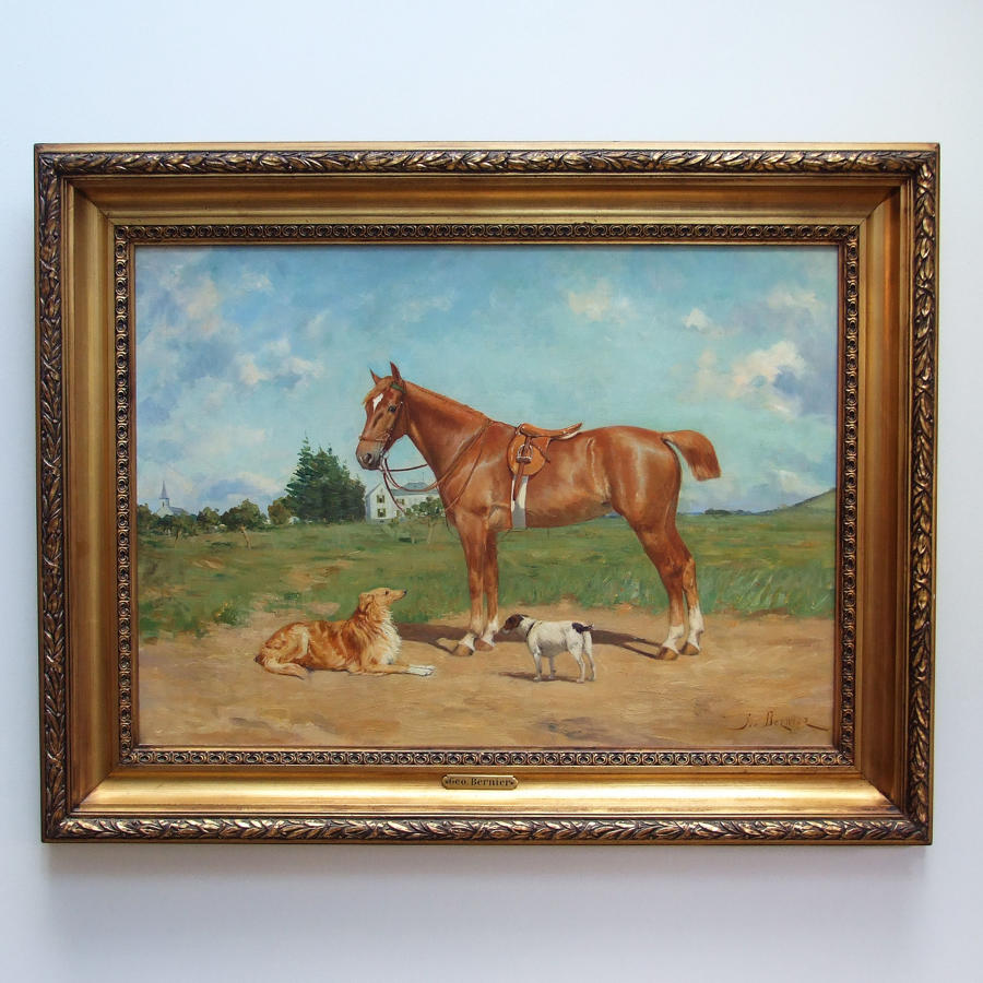 Fine portrait of horse & hounds on a sunny day by Georges Bernier
