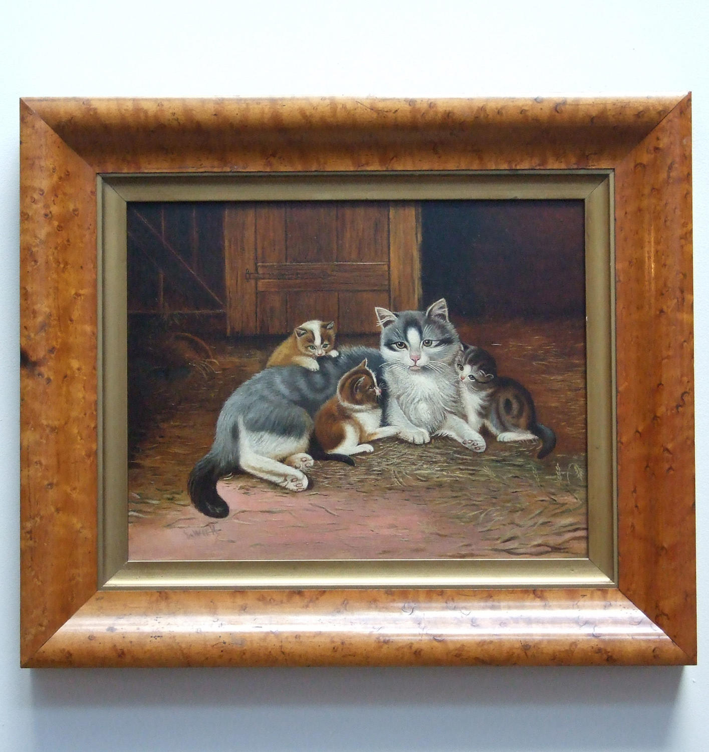 Delightful pair of oil paintings of cats and kittens by J. Wick