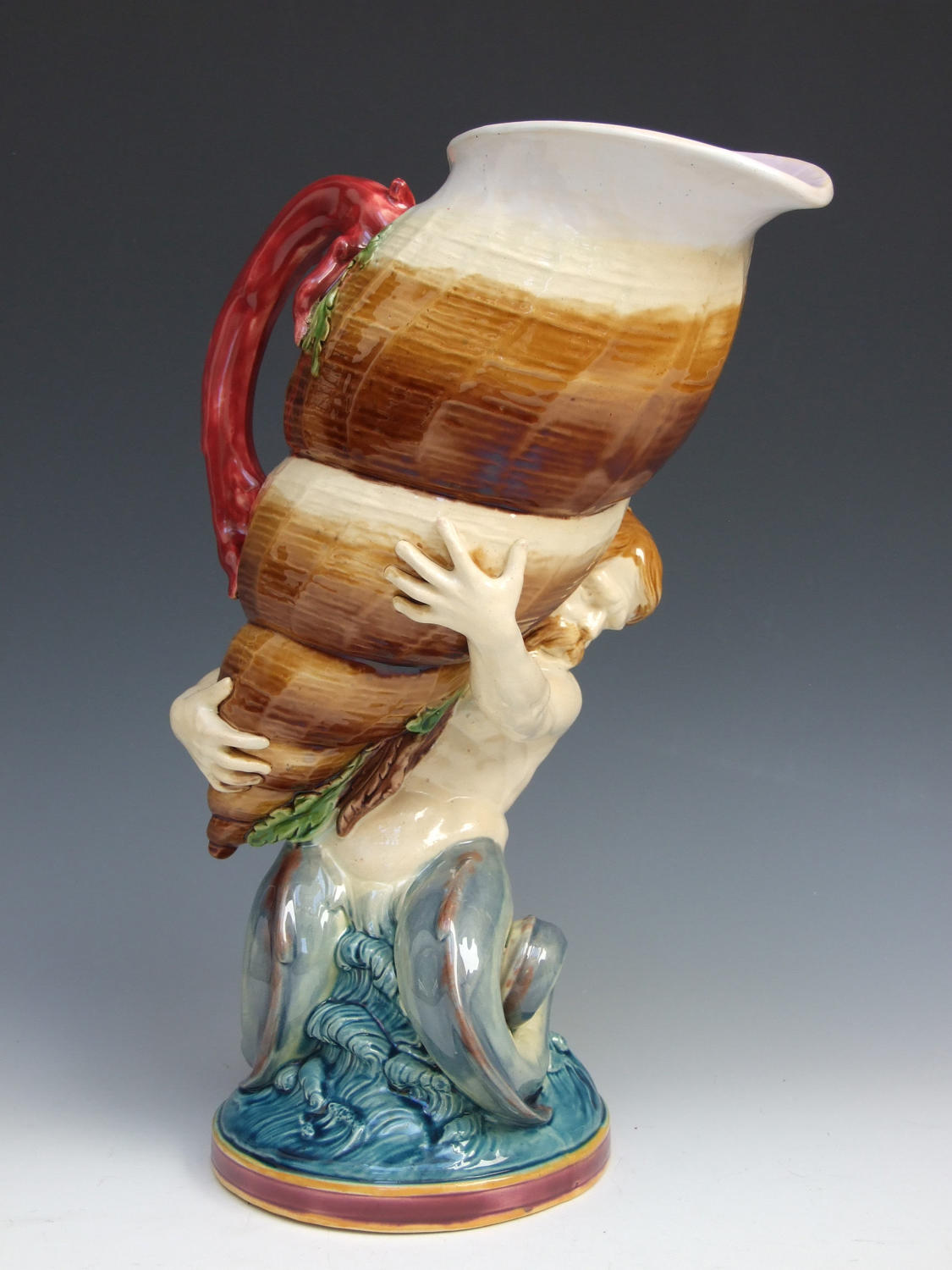 Very large and impressive Minton majolica shell and triton pitcher
