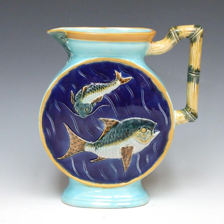 Joseph Holdcroft majolica fish motif moon jug