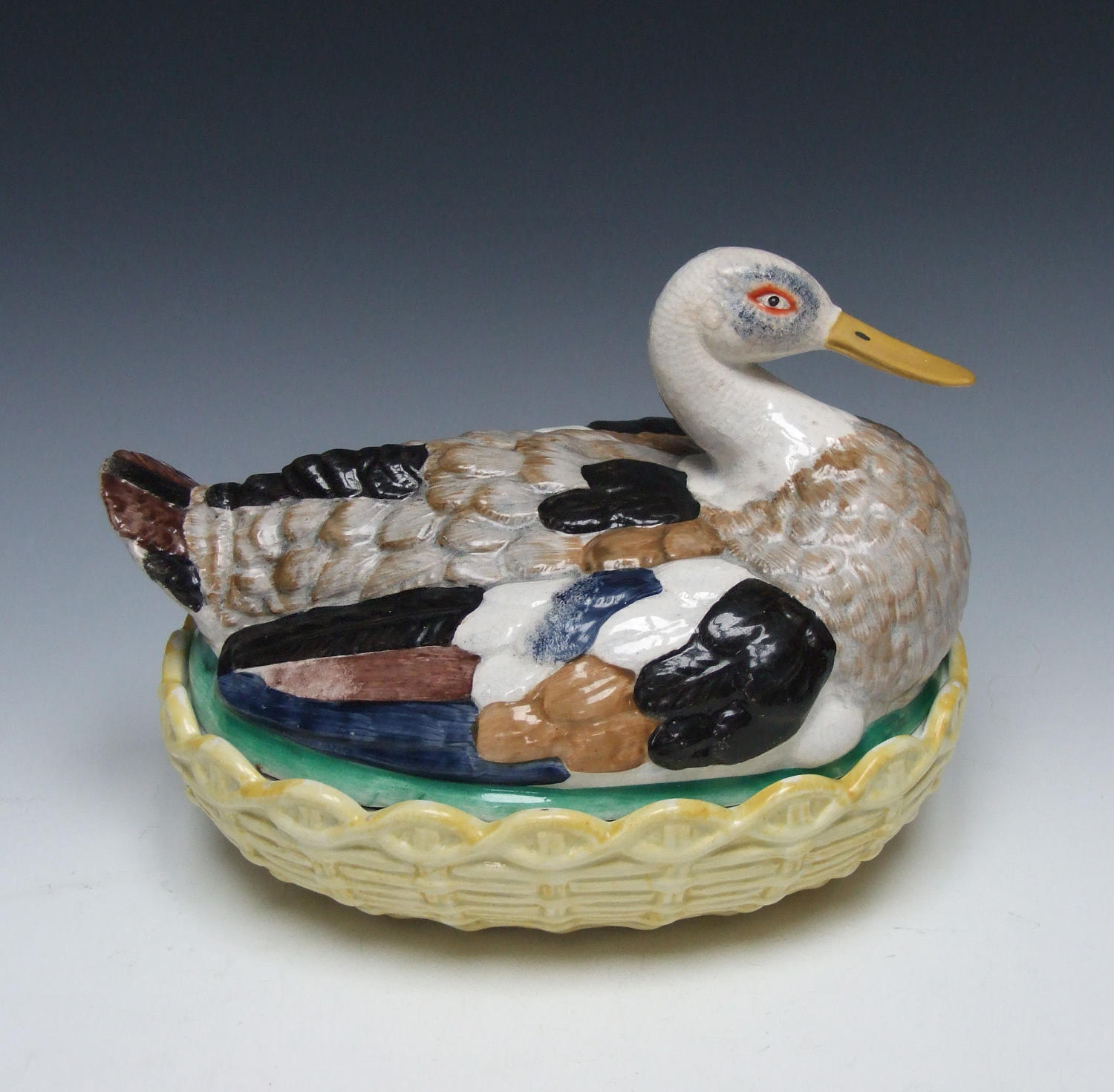 Exceptionally rare large Staffordshire duck tureen