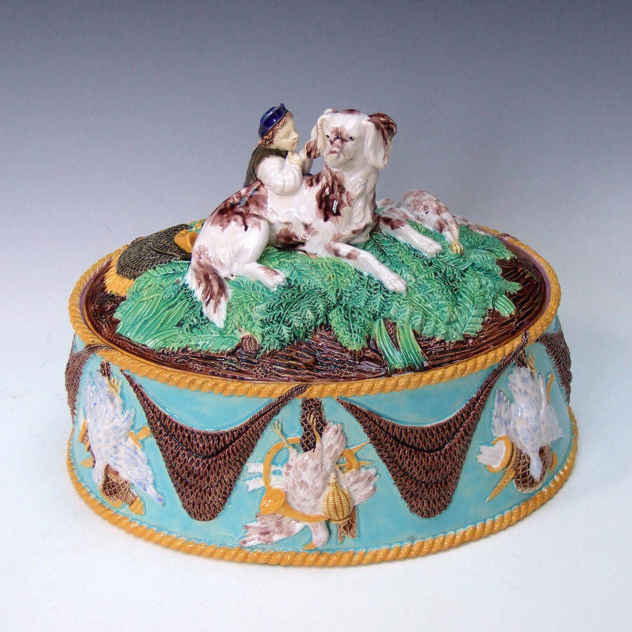 Exceptionally rare George Jones majolica game dish