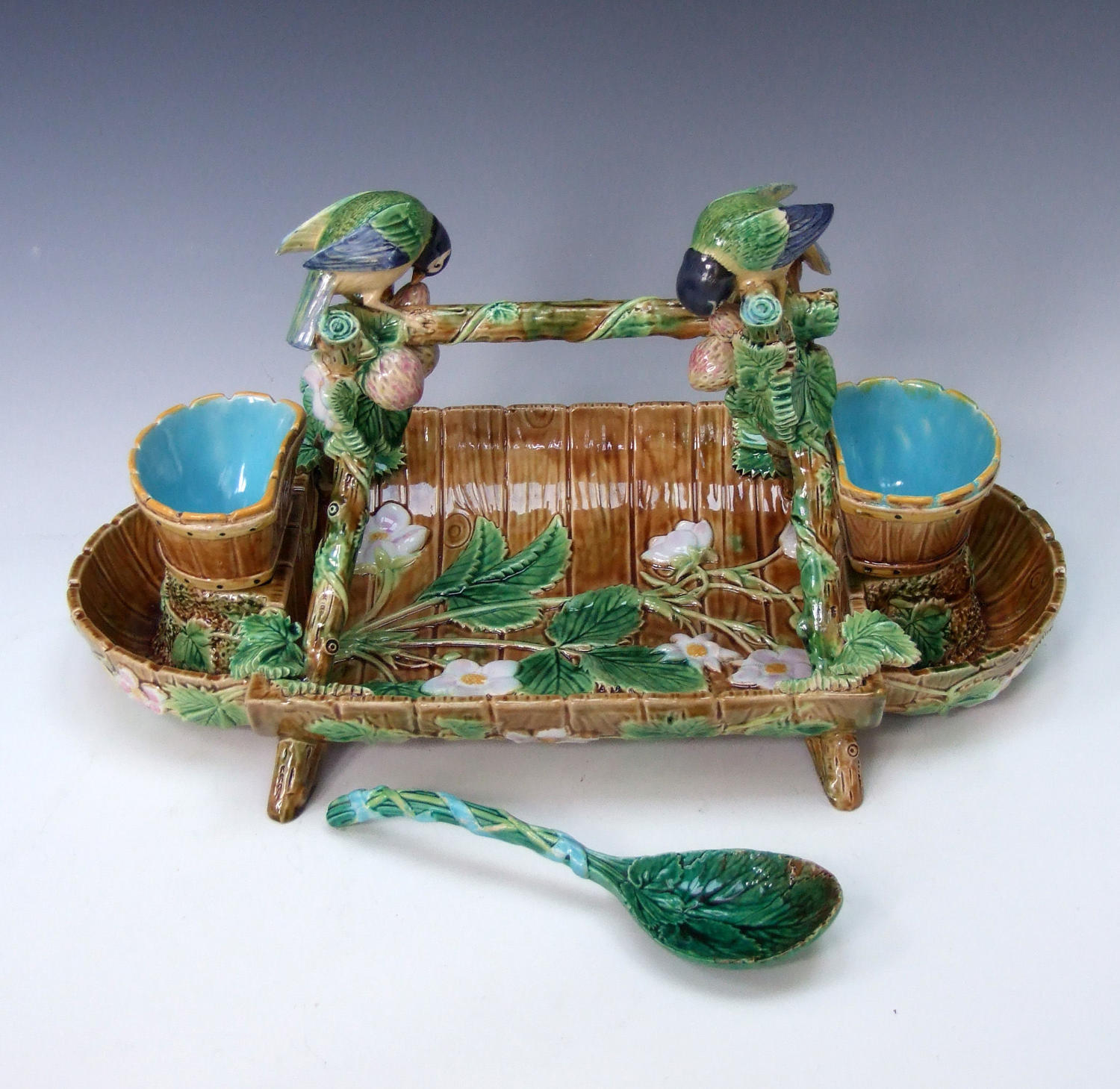 George Jones majolica blue tit motif strawberry dish