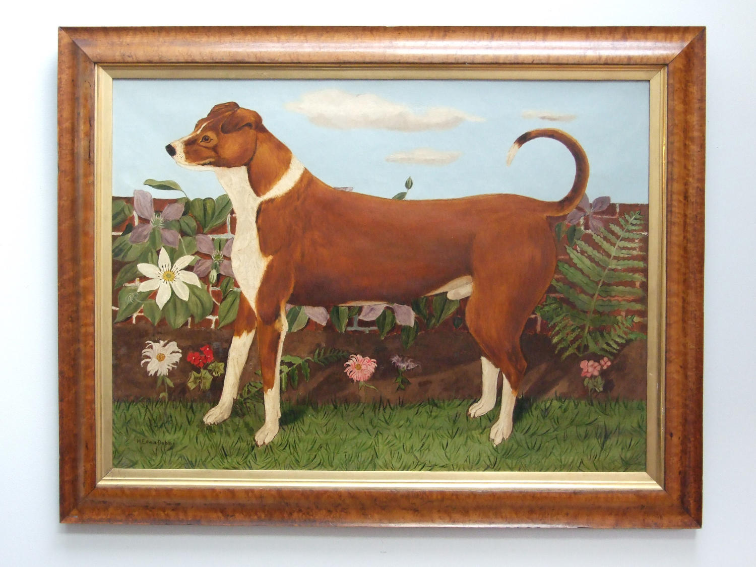 Naive oil painting of dog in garden
