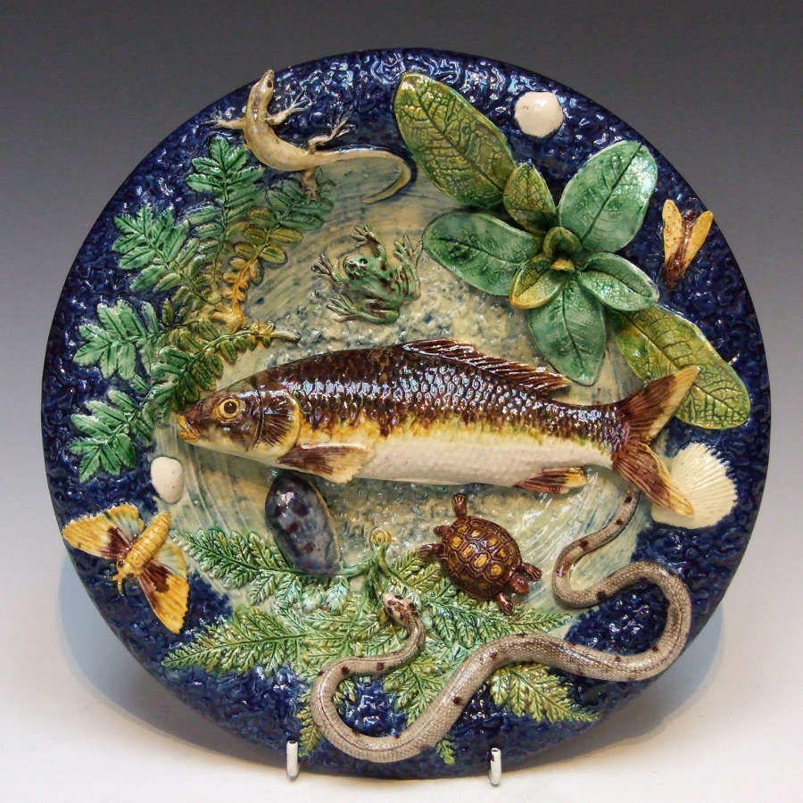 Palissy fish motif circular dish by Thomas Sergent