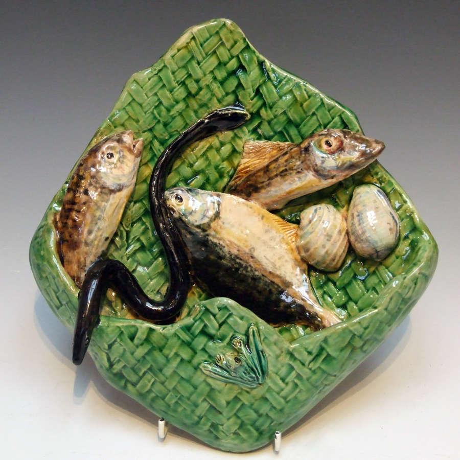Rare & unusual Palissy fish motif wall pocket by Alfred Renoleau