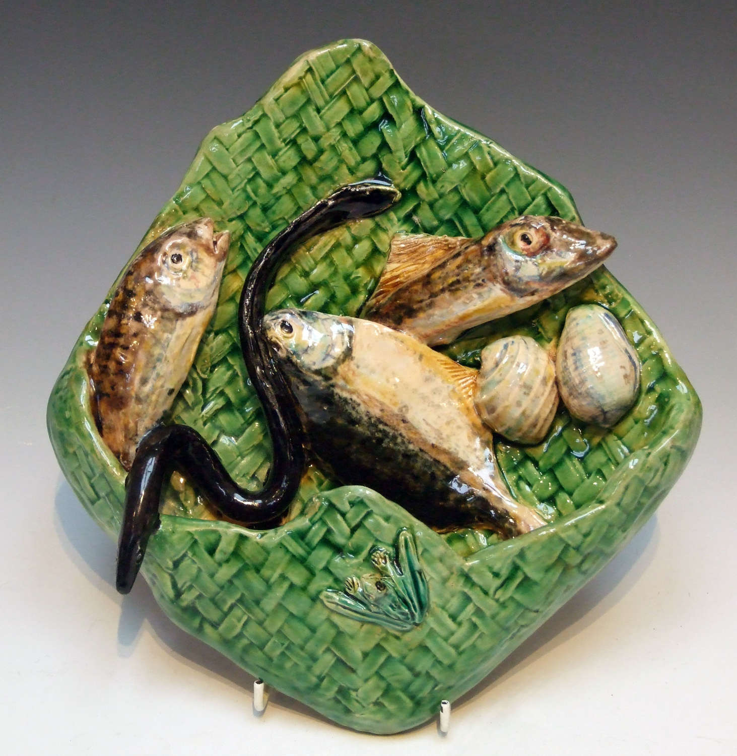 Rare & unusual Palissy fish motif wall pocket by Alfred Renoleau