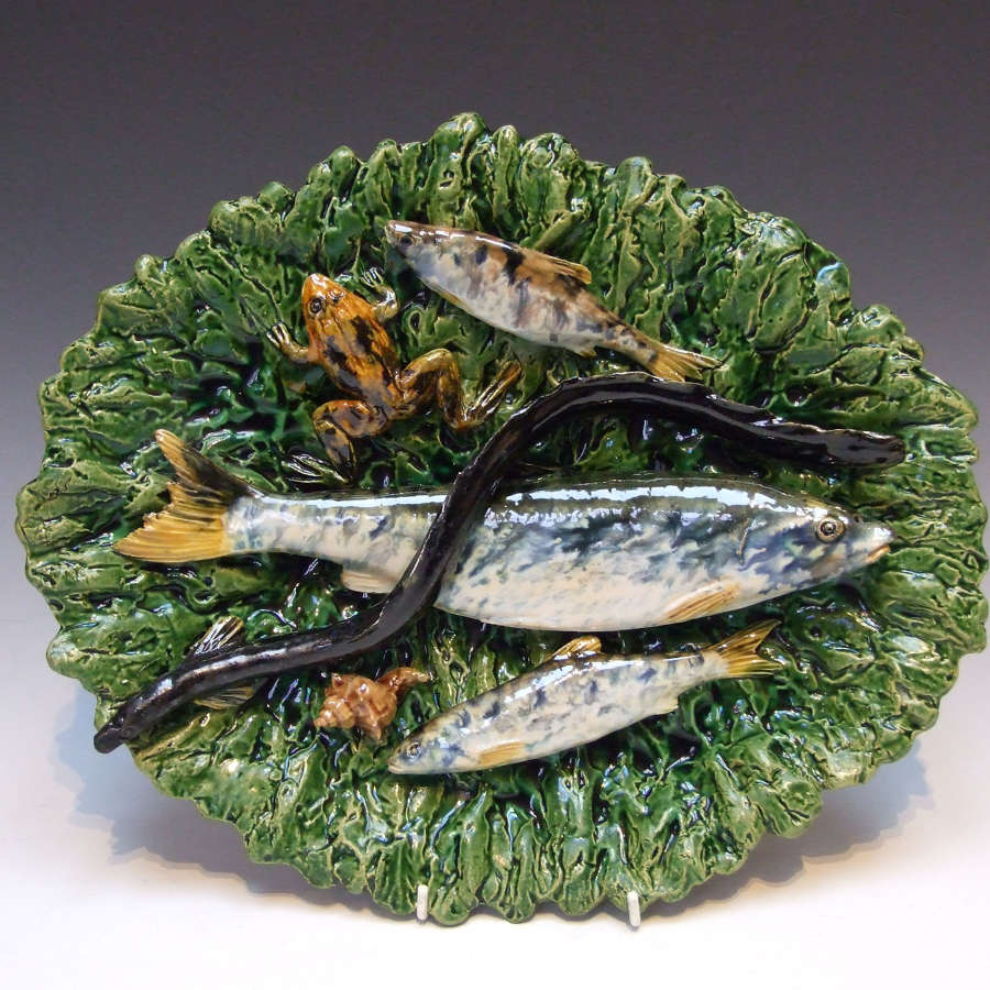 Fine Palissy oval fish & frog motif charger by Alfred Renoleau