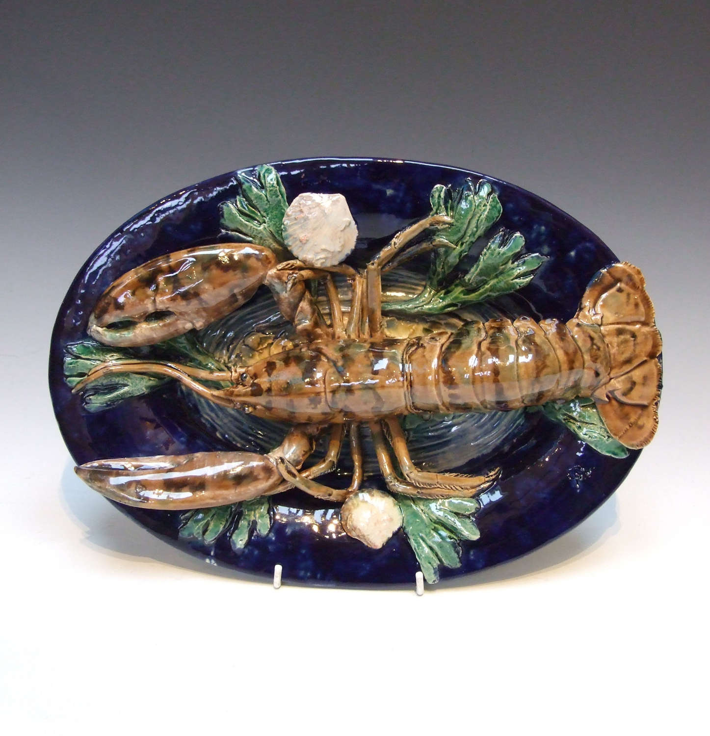 Stunning Palissy cobalt blue ground lobster charger