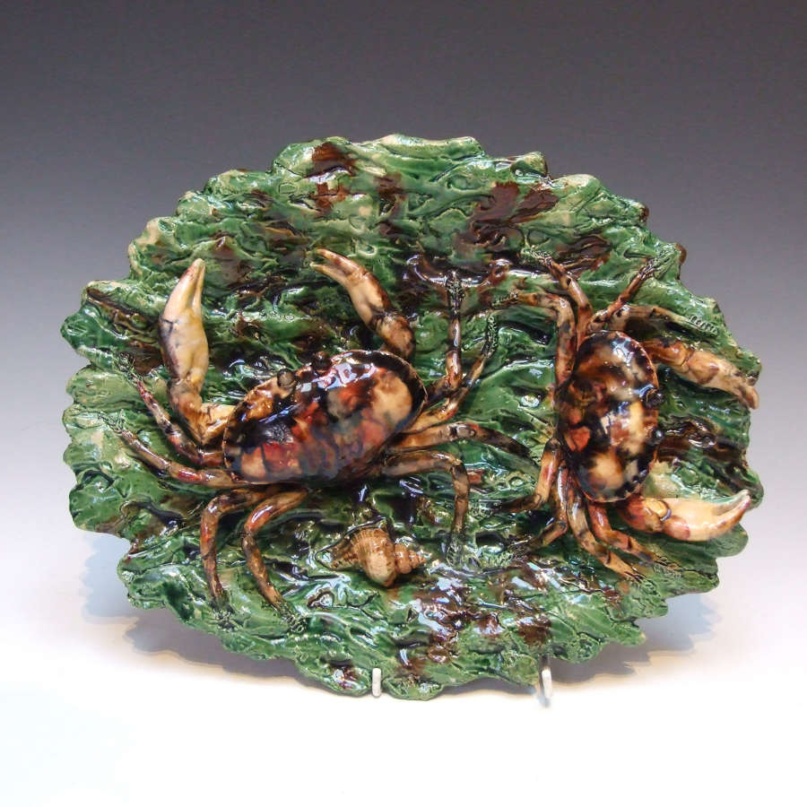 Fine crab motif Palissy oval charger