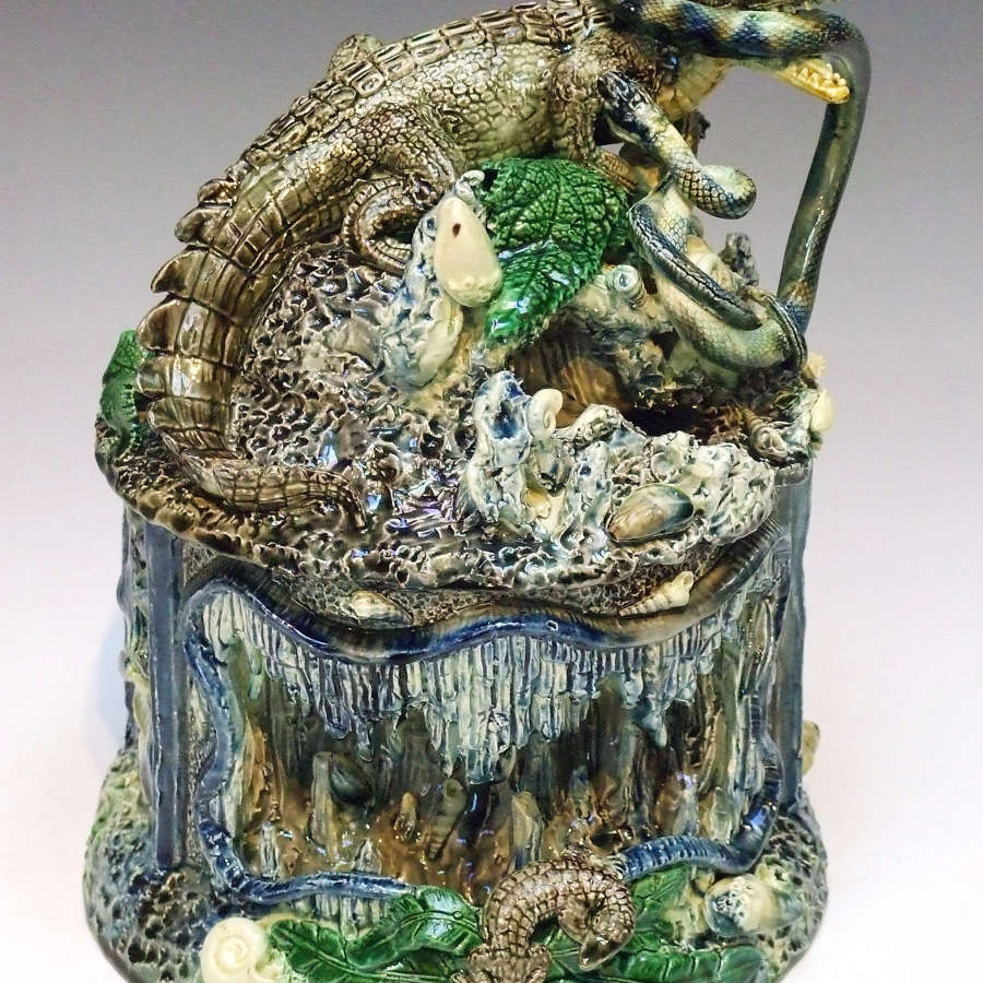 An outstanding large Palissy crocodile motif covered jar