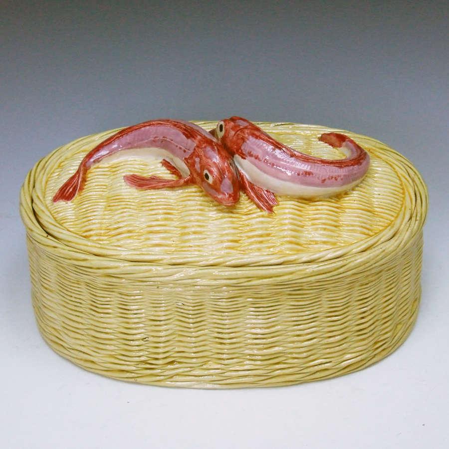 Very rare & unusual large fish basket motif box & cover