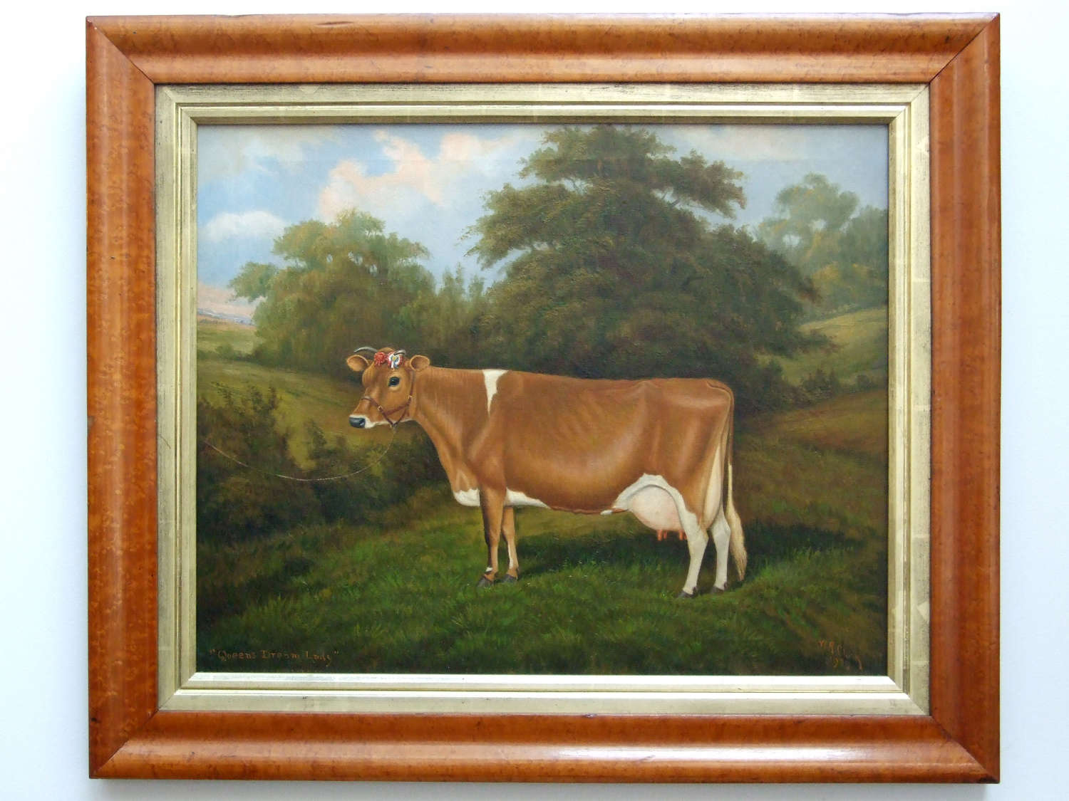Very fine oil painting of prize Jersey cow by W.A.Clark