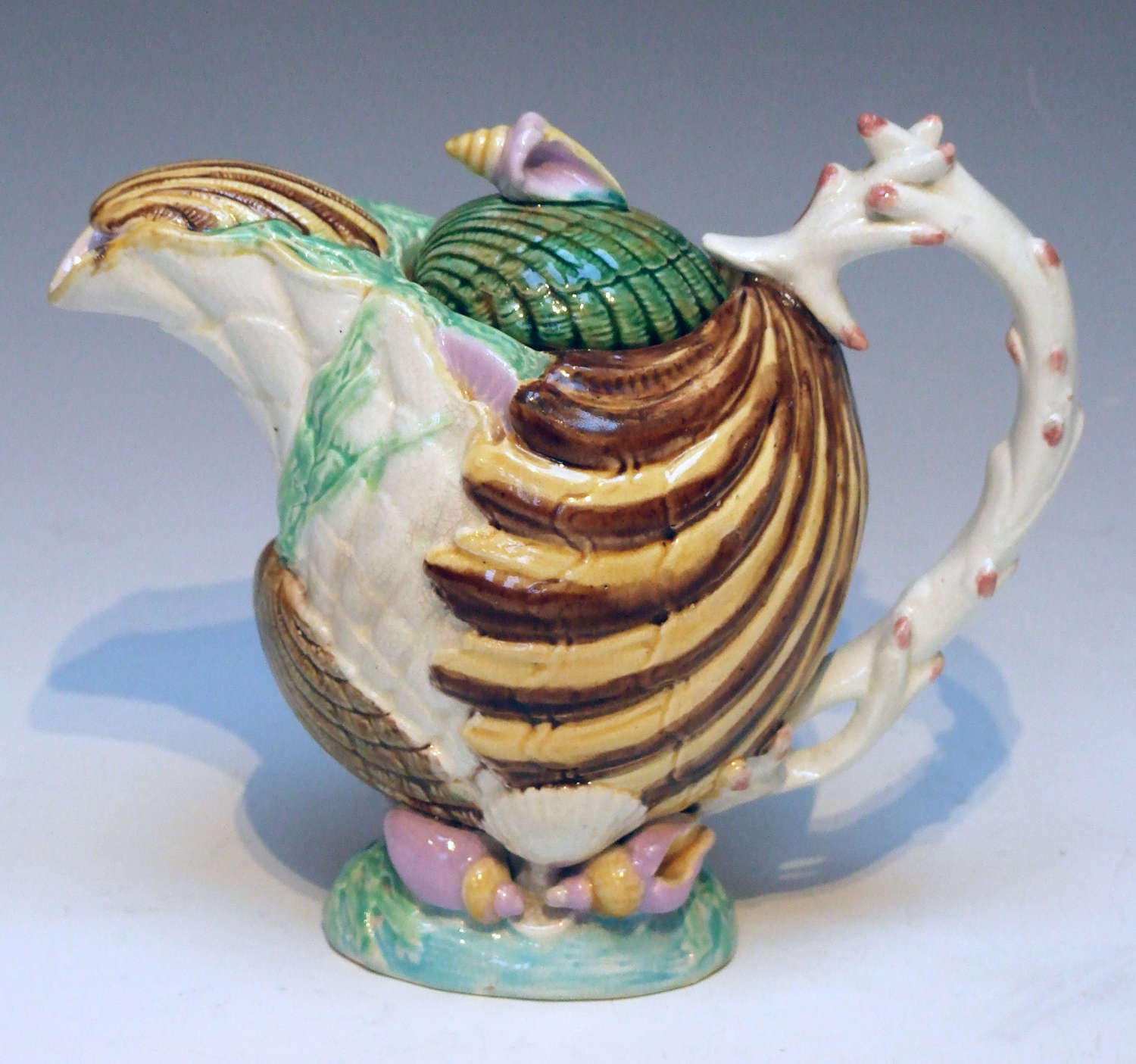Very rare majolica shell form teapot by Samuel Lear with sugar bowl
