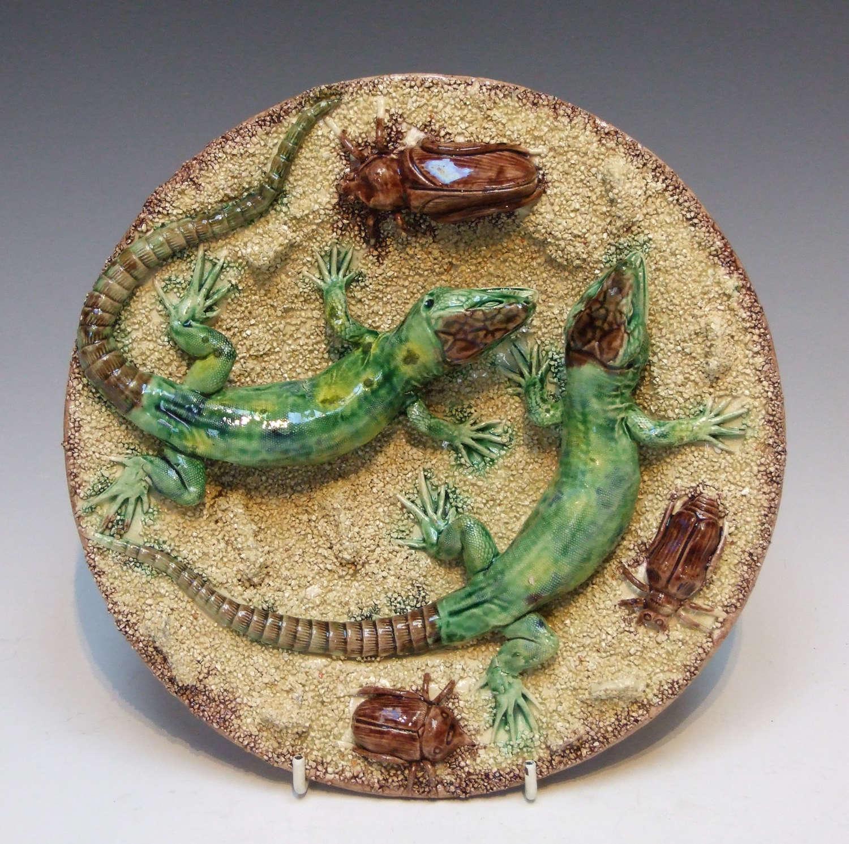 Rare Palissy sand ground lizard plate
