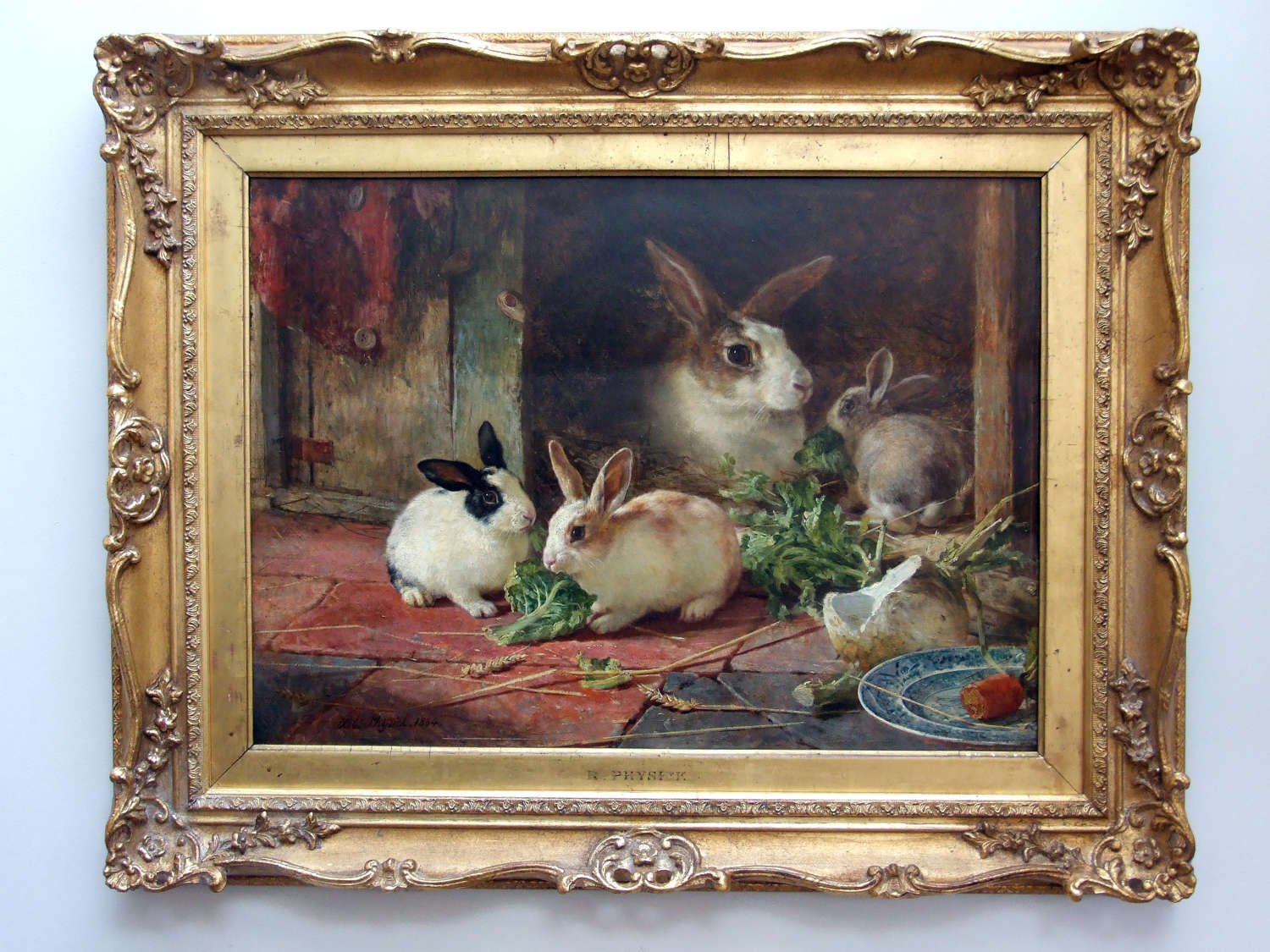 Extremely fine and rare oil painting of rabbits by Robert Physick 1864