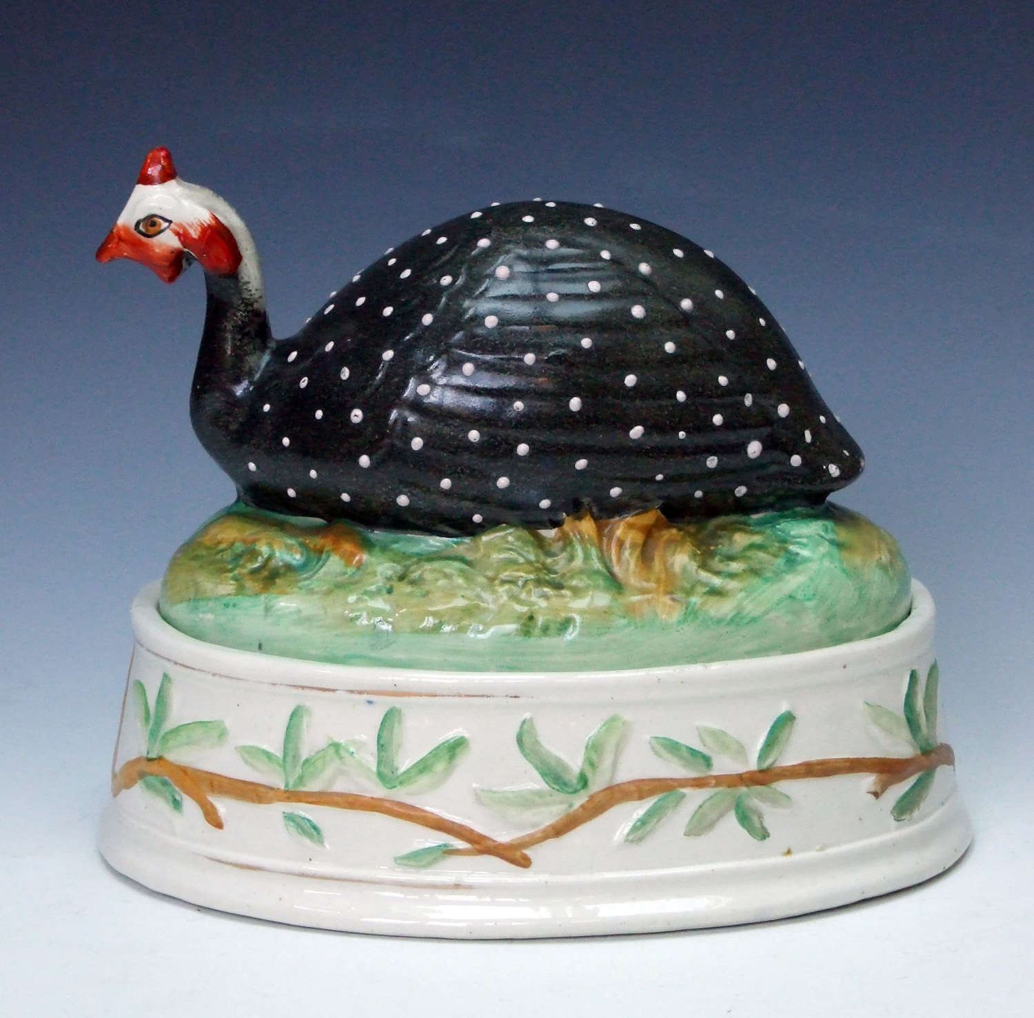 An extremely rare Staffordshire Guinea Fowl tureen