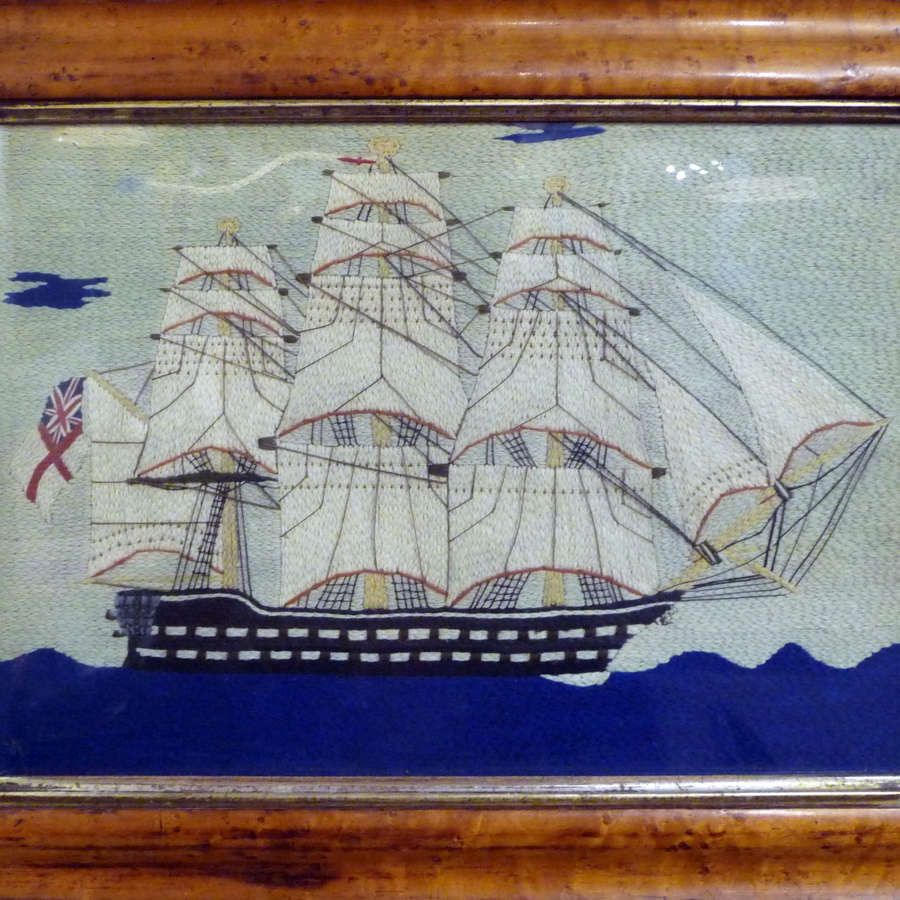 Charming fine quality signed sailors woolwork