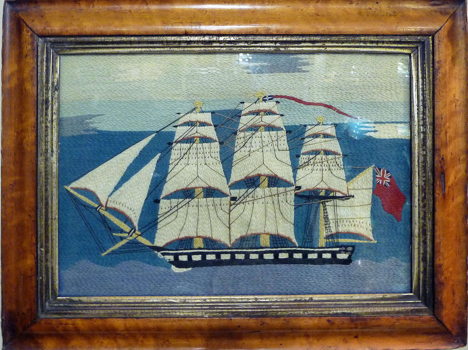 Charming fine quality sailor's woolwork ship portrait