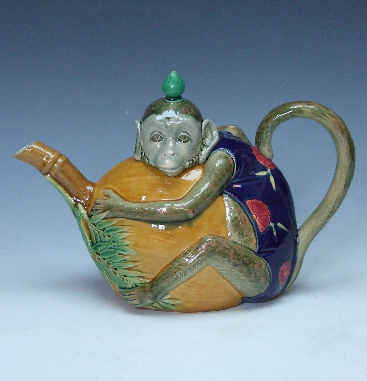 A fine Minton majolica 'monkey' teapot