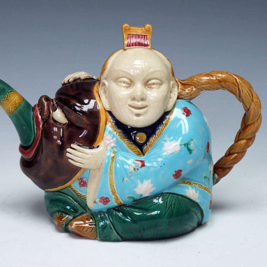 Fine Minton majolica 'chinaman' teapot