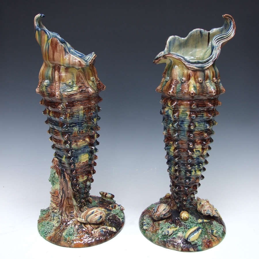 Fabulous pair of highly unusual tall Palissy shell vases