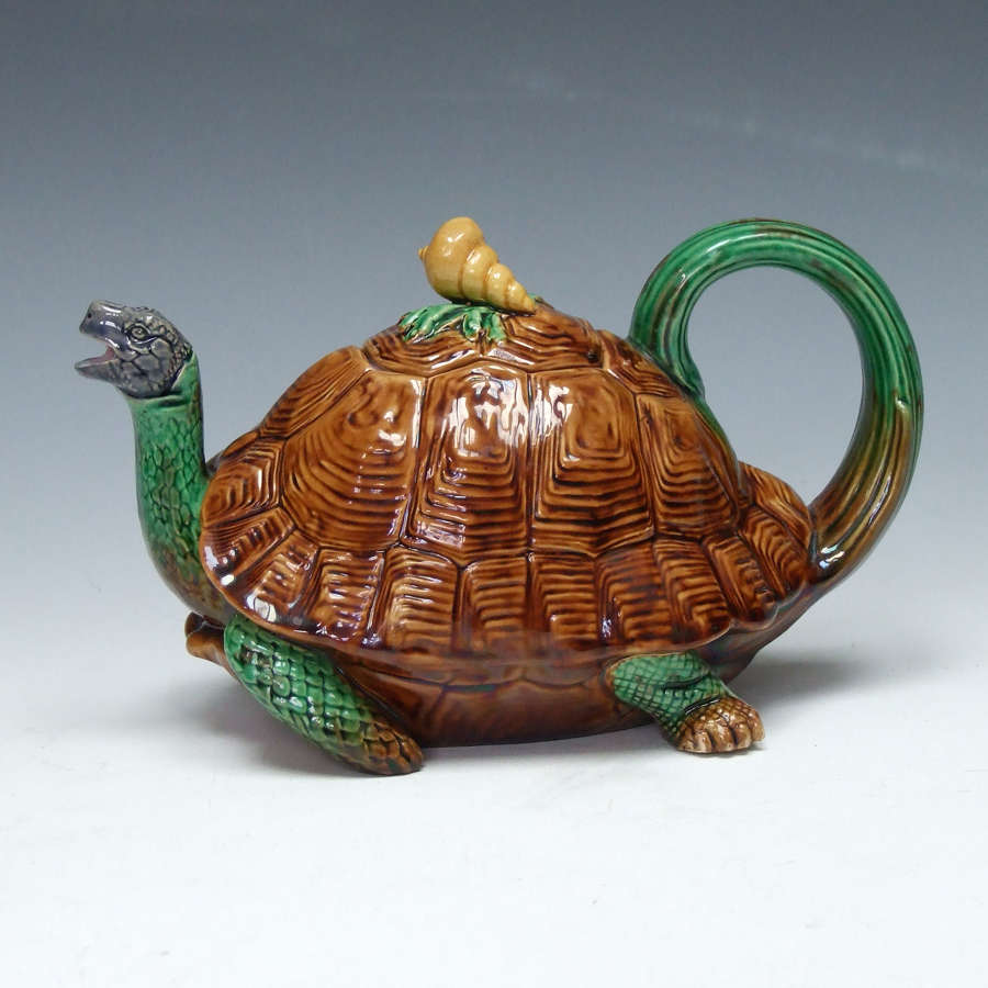 Exceptionally fine and rare Minton majolica tortoise teapot
