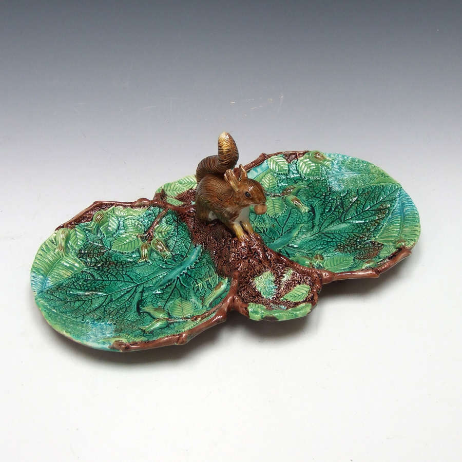 Rare George Jones majolica 'double' squirrel nut dish