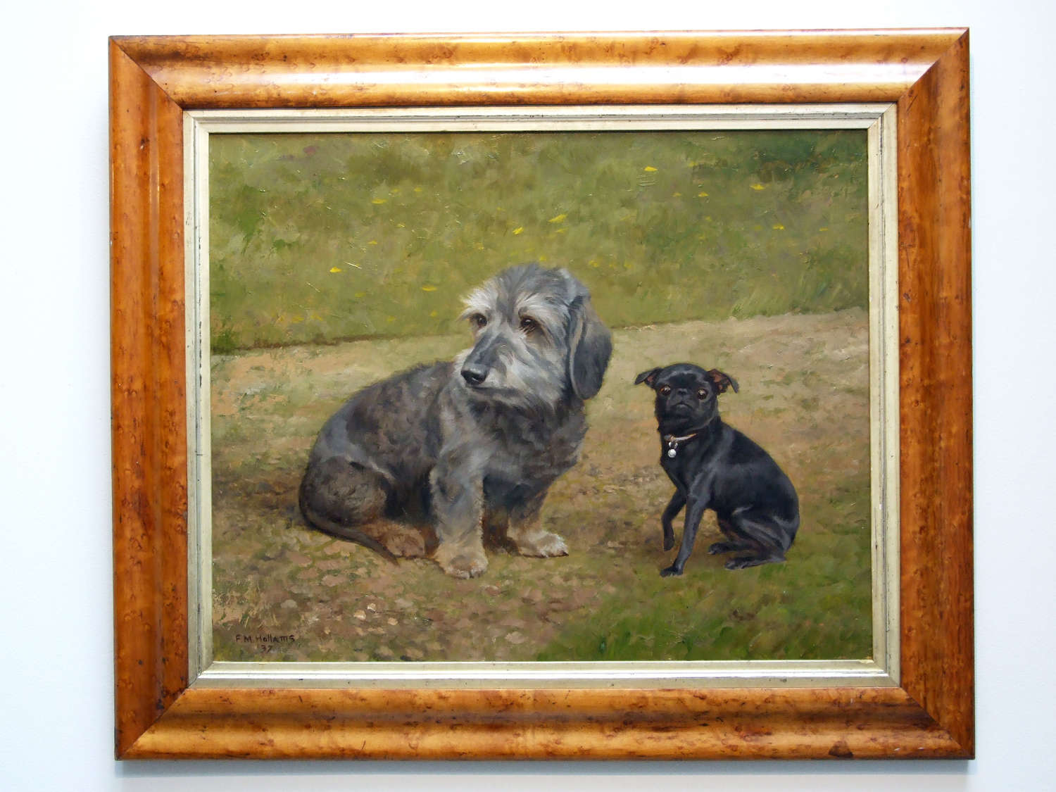 Charming oil portrait of two dogs by Frances Mabel Hollams