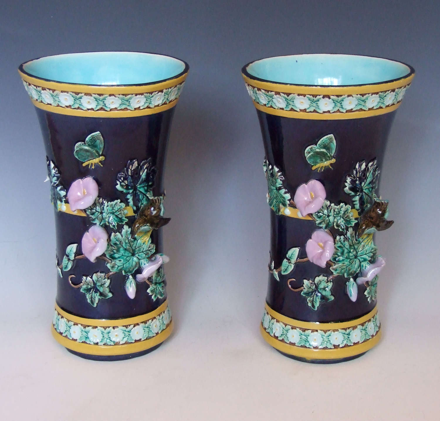 A beautiful pair of Joseph Holdcroft majolica vases.