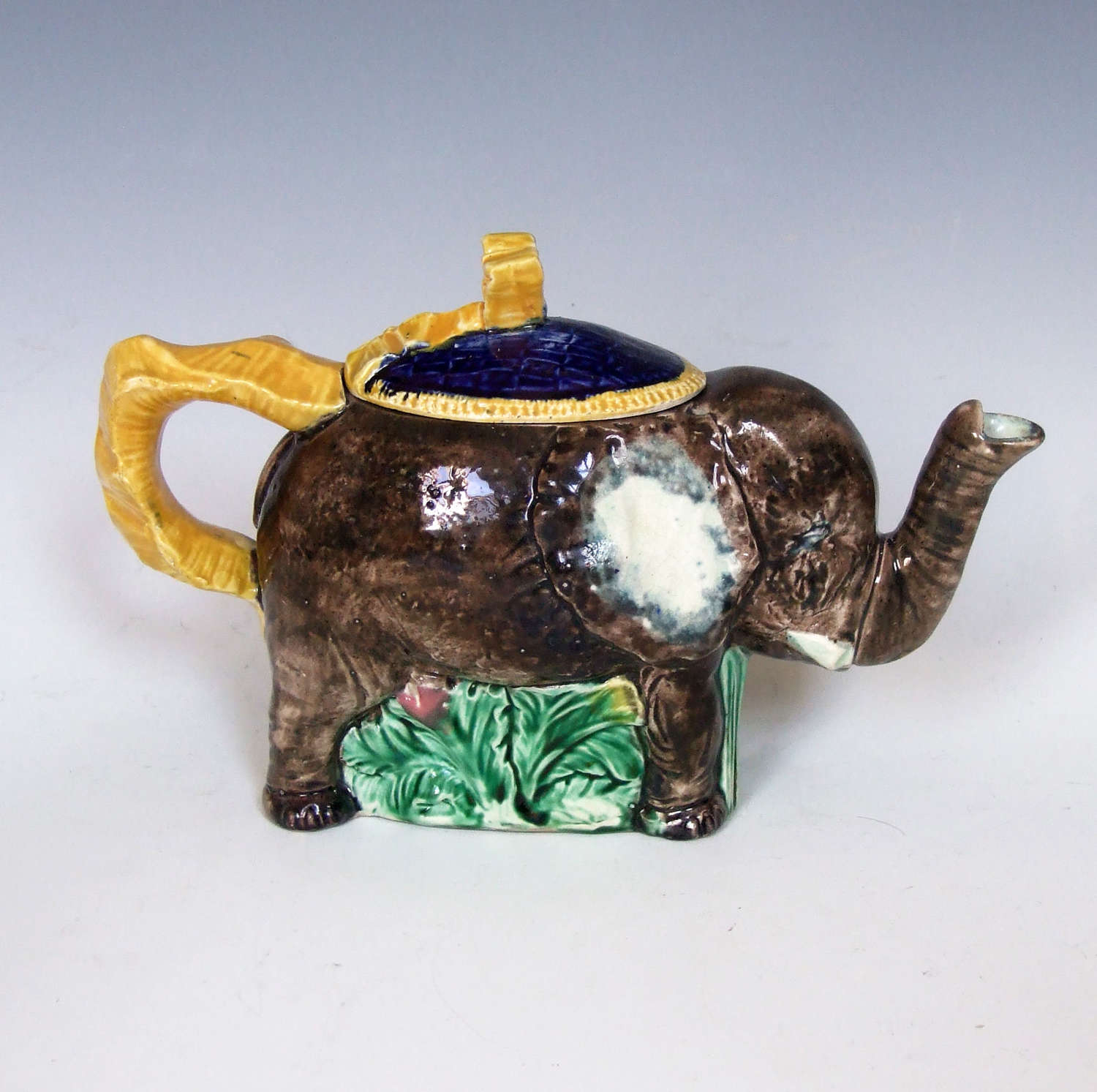 Charming and rare English majolica 'elephant' novelty teapot