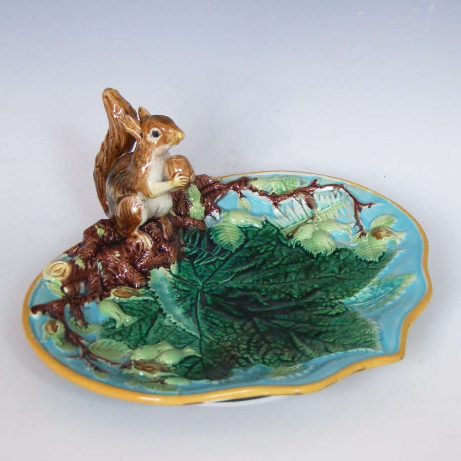George Jones majolica squirrel motif turquoise ground nut dish