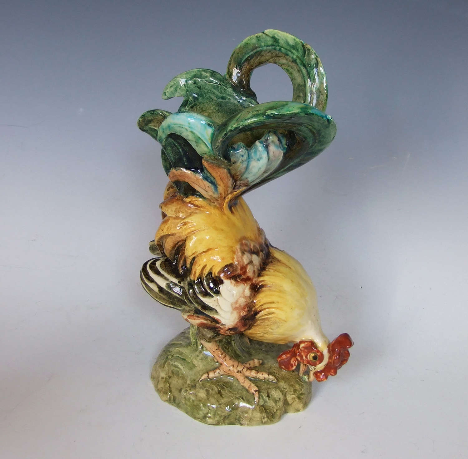 Rare majolica rooster vase by Edmond Lachenal