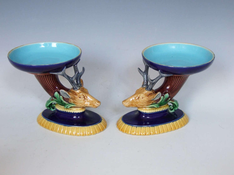 Rare pair of stag head motif Minton majolica salts.