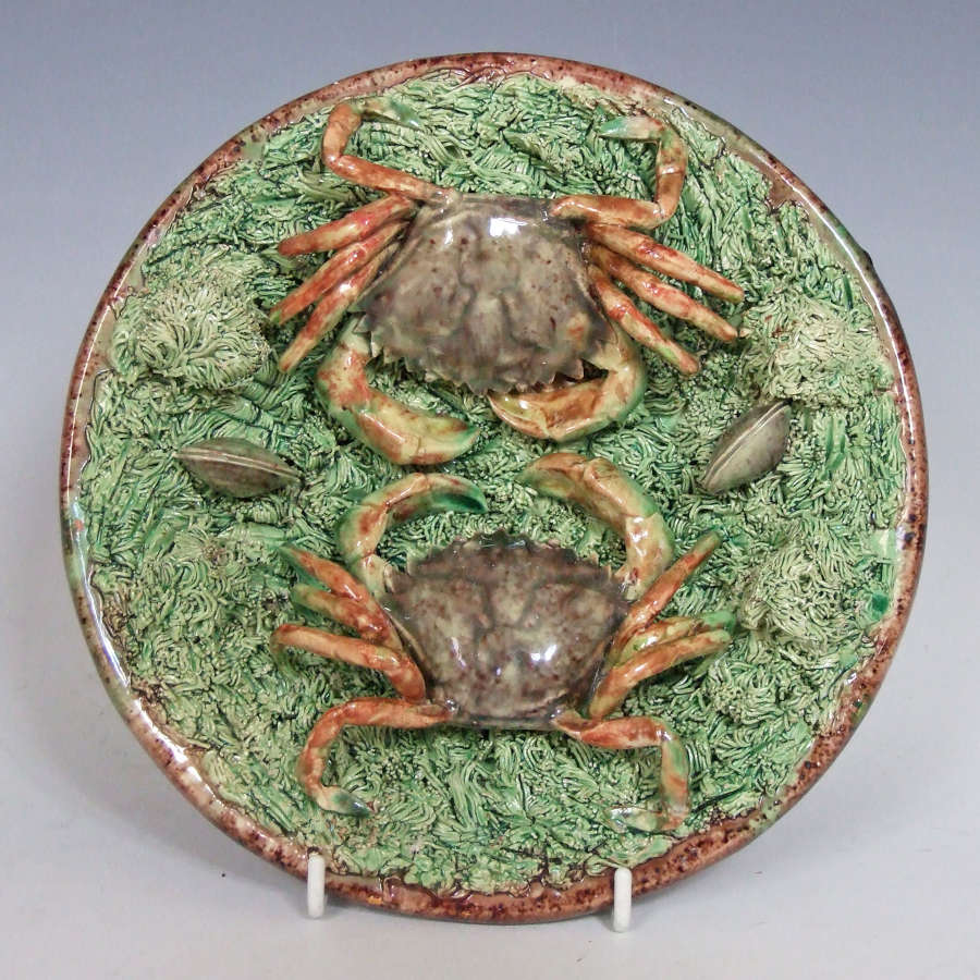 Rare Portuguese Palissy double crab dish.