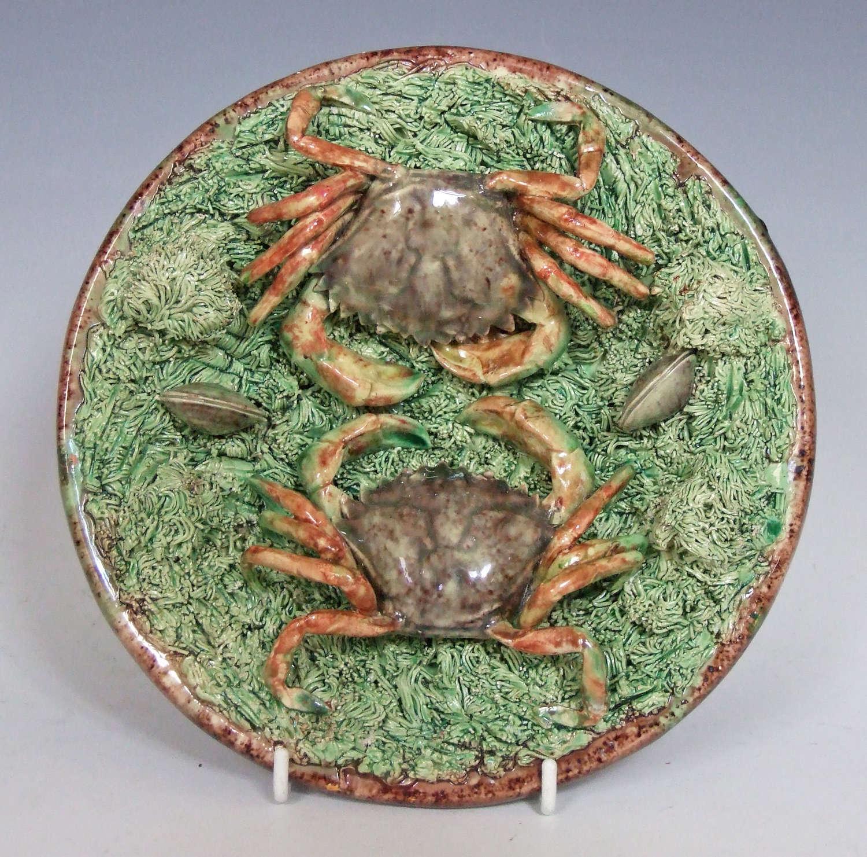 Rare Portuguese Palissy double crab dish.