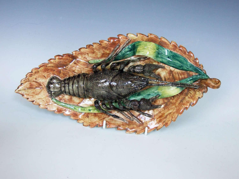 Highly unusual fine Palissy lobster dish by Battaglia