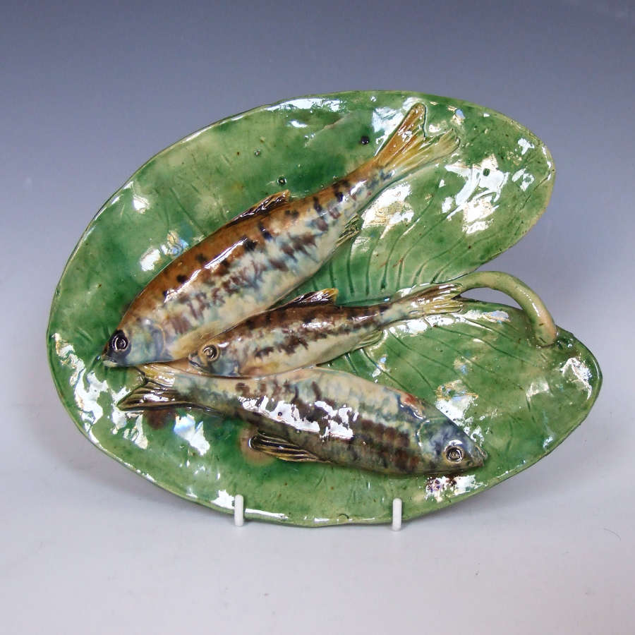 Fine Alfred Renoleau fish on leaf Palissy dish.
