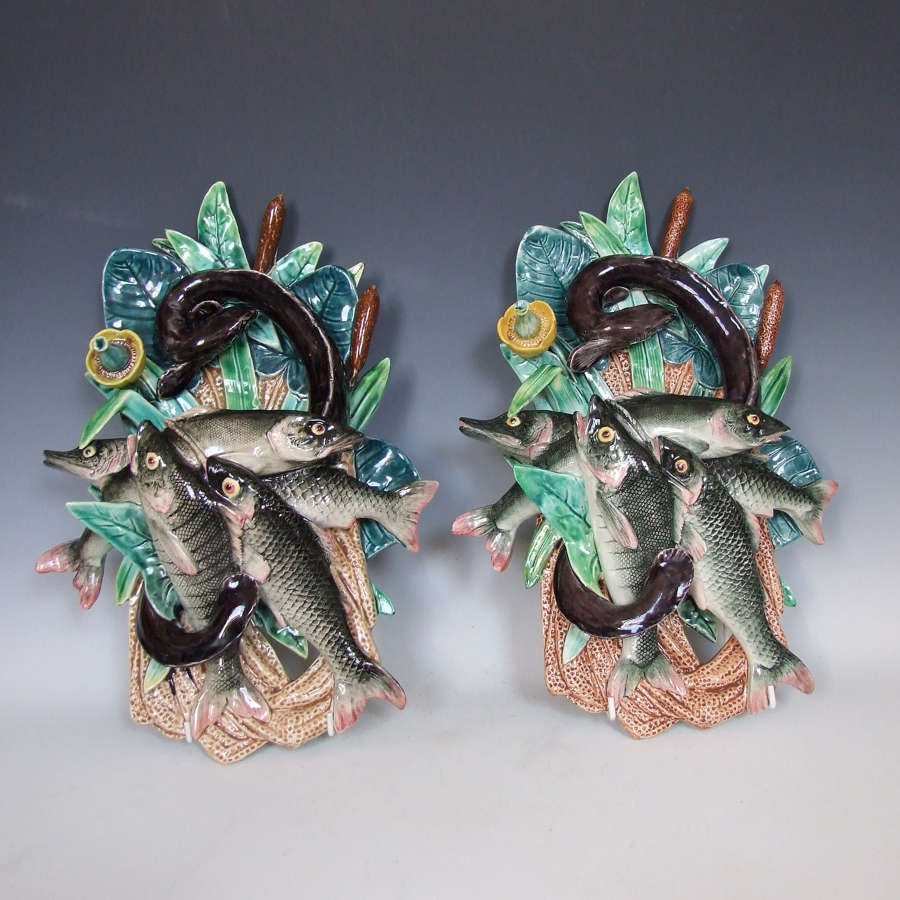Rare pair of large French majolica fish motif wall pockets by De Bruyn