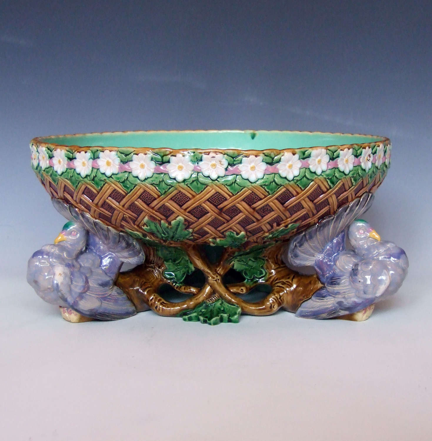 Fine Minton large majolica fantail pigeon and lattice bowl.