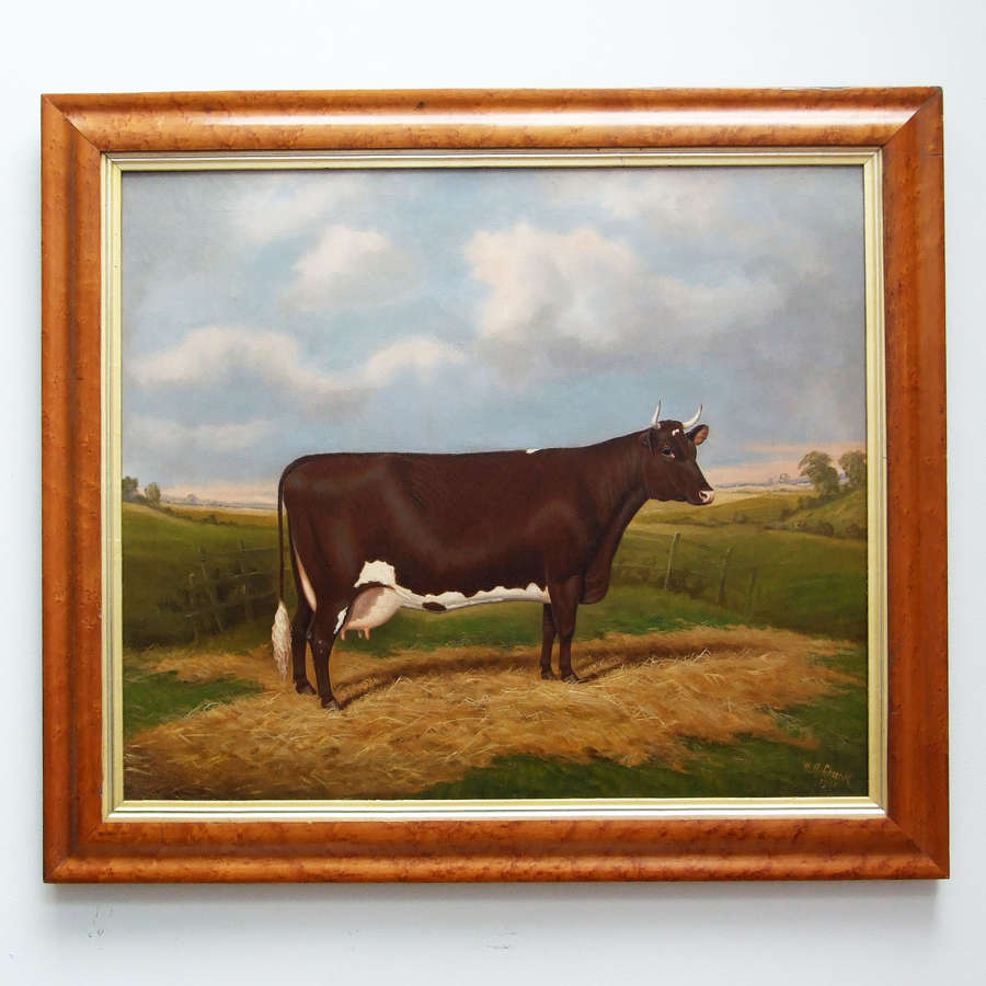 Fine oil portrait of a prize cow by William Albert Clark.
