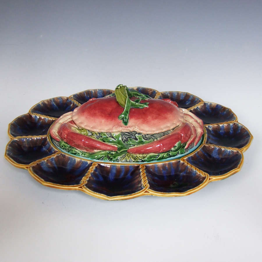 Exceptional Minton majolica crab & oyster server.