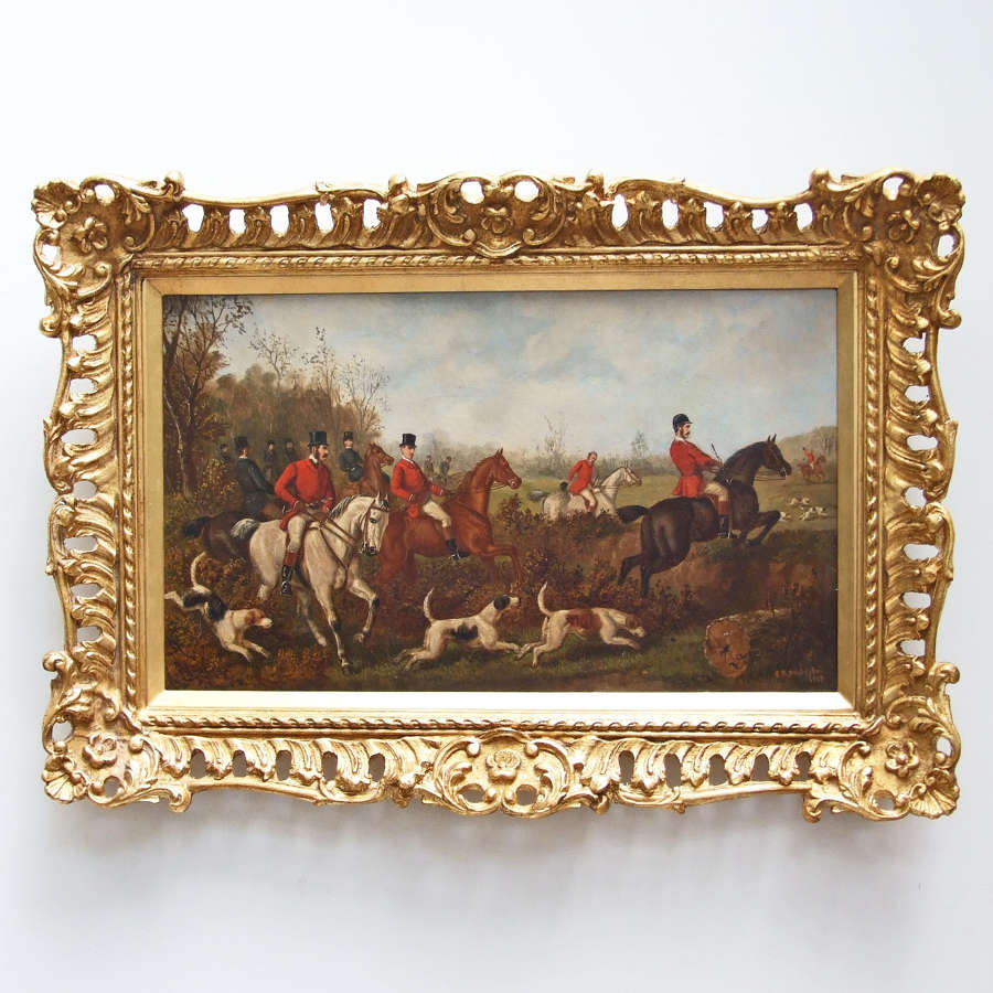 Rare set of four foxhunting oil paintings by E.B.Herberte.