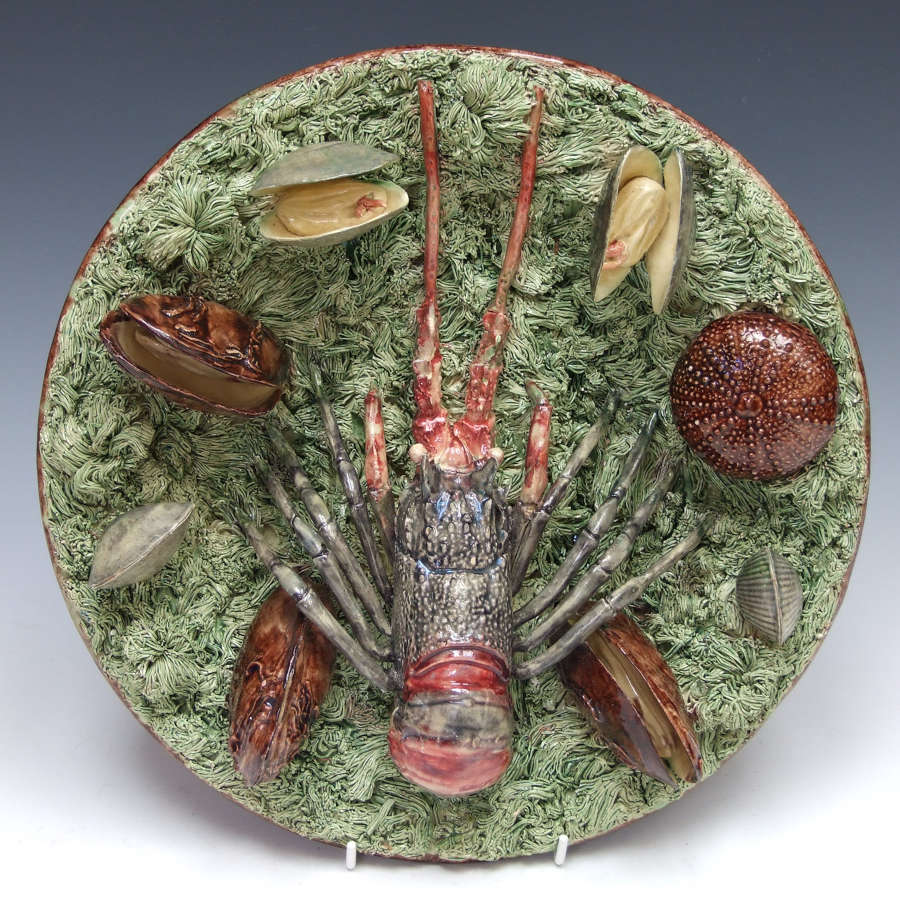 Fabulous Portuguese Palissy crayfish and shell dish by Manuel Mafra.