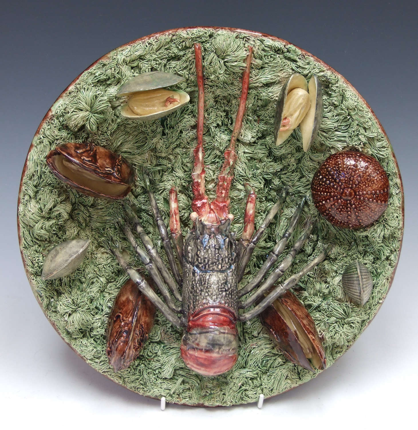 Fabulous Portuguese Palissy crayfish and shell dish by Manuel Mafra.