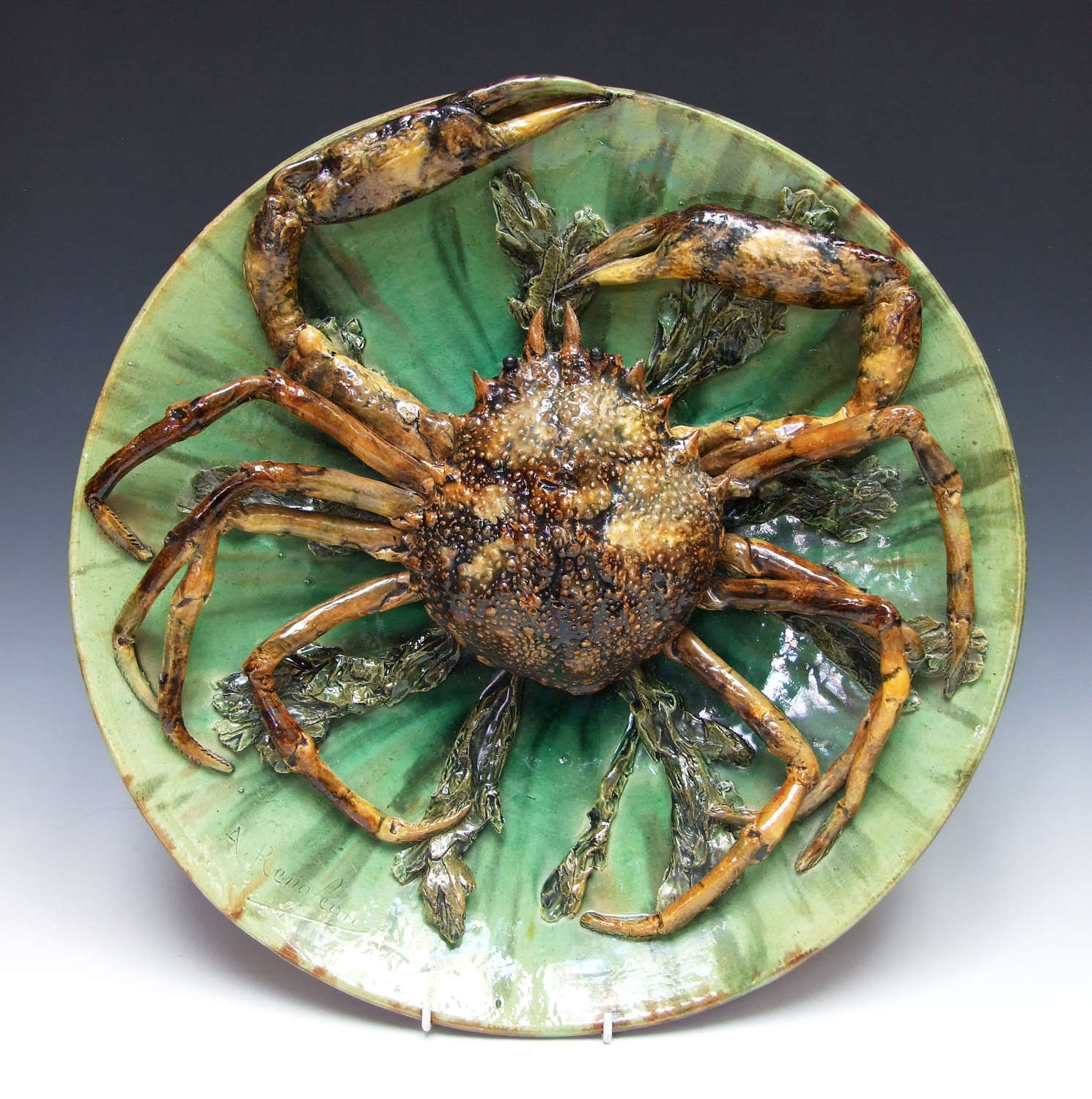 Very rare massive Palissy ware spider crab motif charger by Renoleau.