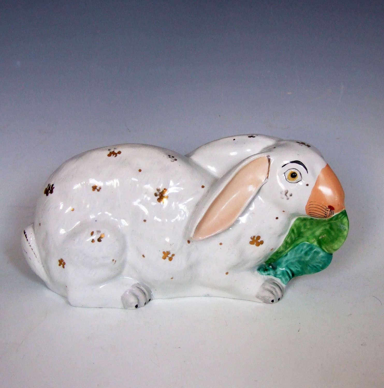 Rare Staffordshire rabbit eating lettuce leaf white & gilt figure