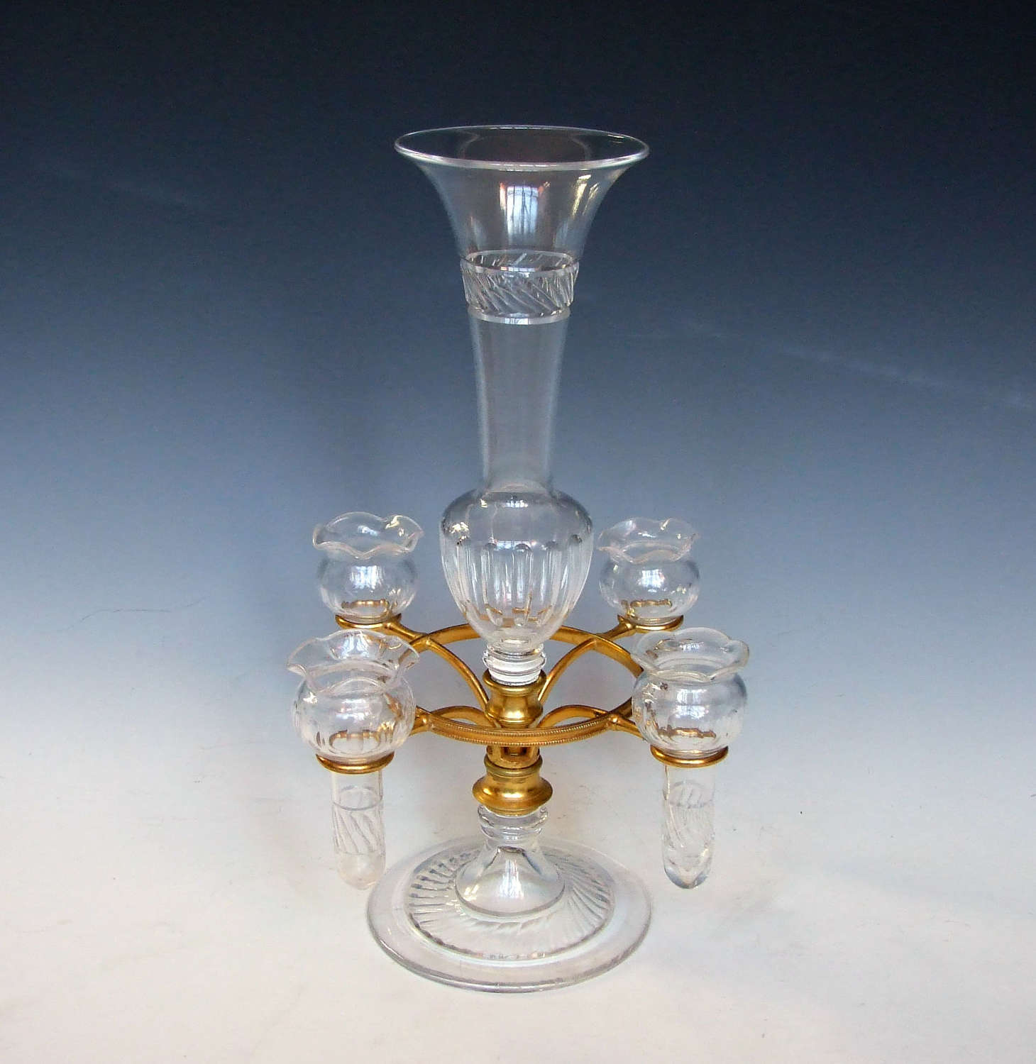 A rare 5 vase pedestal cut crystal and ormolu epergne.